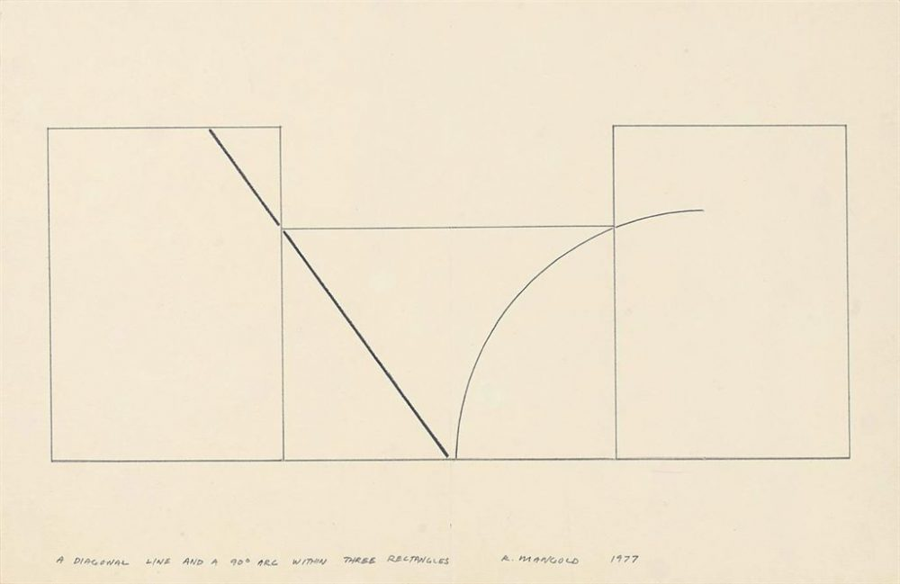 Robert Mangold – A Diagonal Line and a 90° within Three Rectangles – 1977